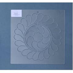 Stencil Bloco Plumas BL-0016-8 23 x 23 cm